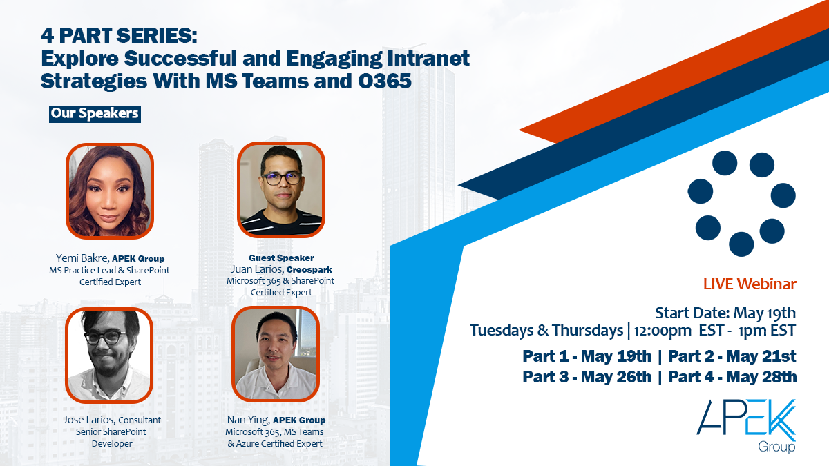 Apek Group All-May-Webinar-Series-Banner-Web-1-3 Practical Governance for Self Servicing in Microsoft Teams, – Let's talk tools and automation!